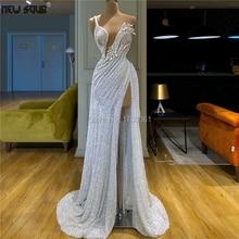Convenzionale elegante Aibye Bianco Abiti Da Sera Che Borda Paillettes 2020 Vestido Fatti A Mano Vestito Da Promenade Africano Medio Oriente Del Partito di Robe Dubai