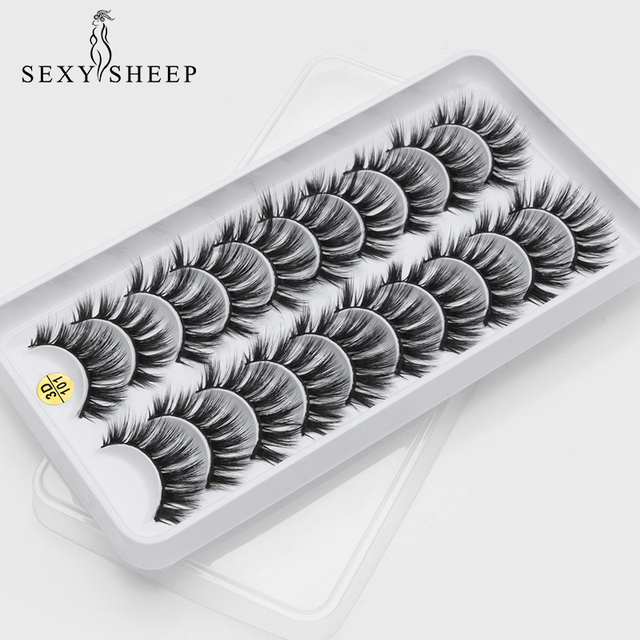 8/10 Pairs Eyelashs Natural long 3D Faux Mink Eyelashes Thick HandMade Full Strip Lashes Volume Soft Mink Lashes False Eyelashes 2