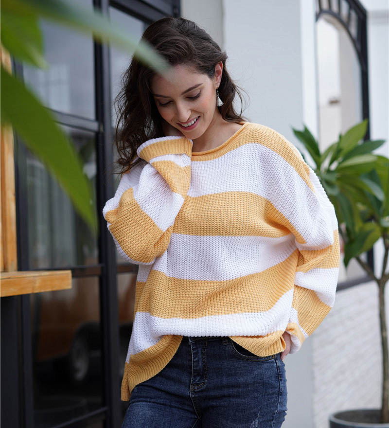 Fitshinling Striped Loose Ladies Sweater Pullover 19 Autumn Winter New Arrival Green Jumpers Knit Sweaters Women Pull Femme 7