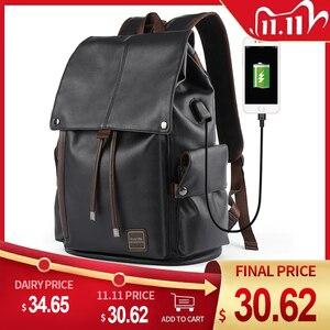 Image 1 - MOYYI célèbre marque école Style sac à dos en cuir sac pour collège conception Simple hommes imperméable décontracté Daypacks mochila 2019