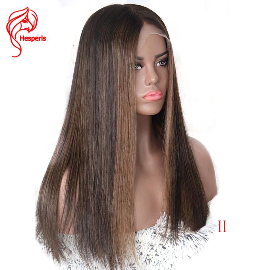Hesperis 360 Lace Frontal Wigs Highlight Straight Brazilian Remy 13x6 Lace Front Human Hair Wigs Pre Plucked With Baby Hair