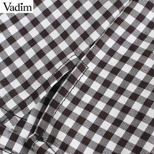 Image 3 - Vadim vrouwen mode basic plaid blouses peter pan kraag lange mouwen vrouwelijke toevallige zoete tops chic blusas mujer LB646