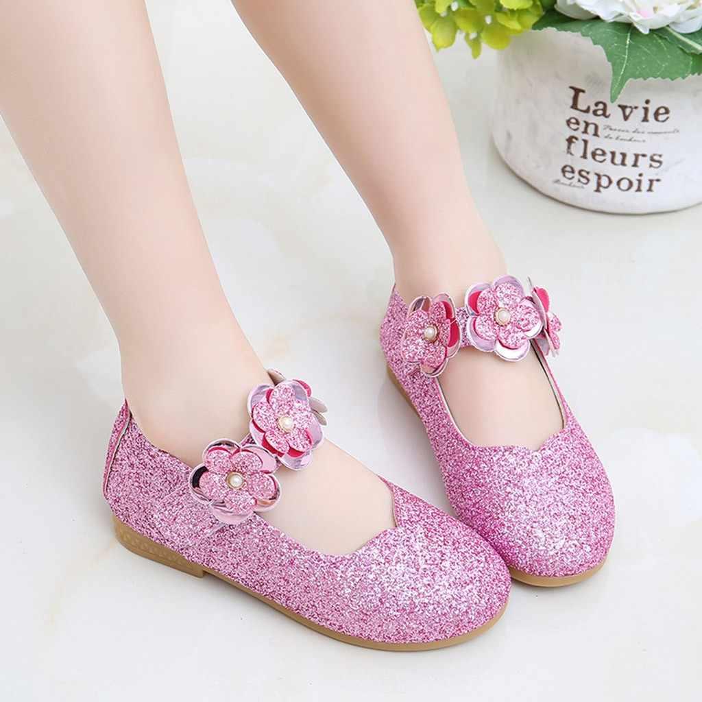 Toddler Infant Kid Baby Girl Sandal Flower Bling Sequins Children Princess Shoes