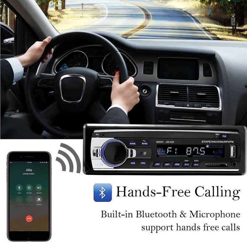 วิทยุติดรถยนต์ 1 DIN 12V รถยนต์สเตอริโอบลูทูธ MP3 เครื่องเล่นเพลงอินพุต AUX USB TF Card Autoradio รีโมทคอนโทรลควบคุม