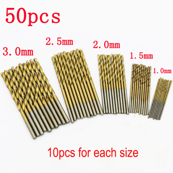 50pcs 100pcs 1 3mm titanium coated twist drill bit high steel for woodworking aluminium alloy angle iron plastic drill bit set 50Pcs HSS Titanium Coated Drill Bits High Speed Steel Drill Bit Set High Quality Power Drilling Tools for Wood 1/1.5/2/2.5/3mm