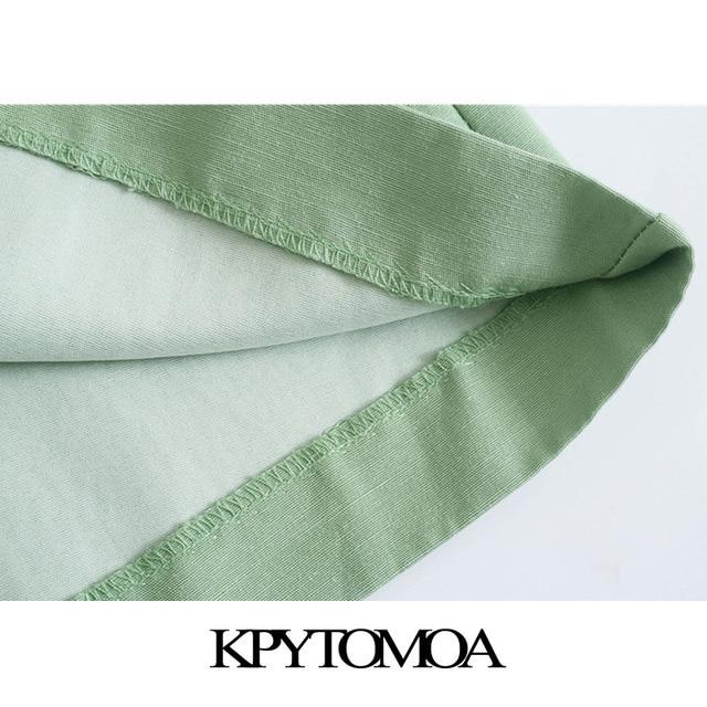 KPYTOMOA Women 2021 Chic Fashion Side Pockets Linen Bermuda Shorts Vintage High Waist Zipper Fly Female Short Pants Mujer 6