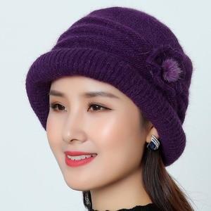 Image 3 - Women Wool Hat Cap Woolen Beanie Hat Winter Knitted Hats with Flower Pattern Ladies Fashion Warm Women Capot Skullies Cap