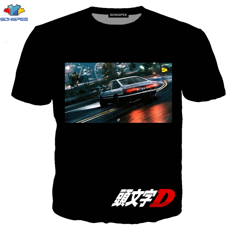 SONSPEE Anime T-셔츠 AE86 Initial D JDM T 셔츠 GTR 일본 자동차 엔진 유형 남성 T-셔츠 일반 운동복 Initial D Shirt
