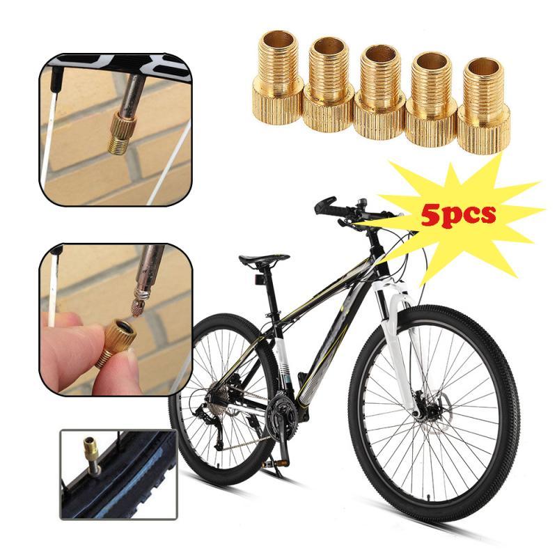 5pcs Pump Bicycle Bike Air Valve Adapter Bicycle Bike Inner Tube Cap Cover Adapter Wheels Gas Nozzle Tube Tool Aluminum Alloy
