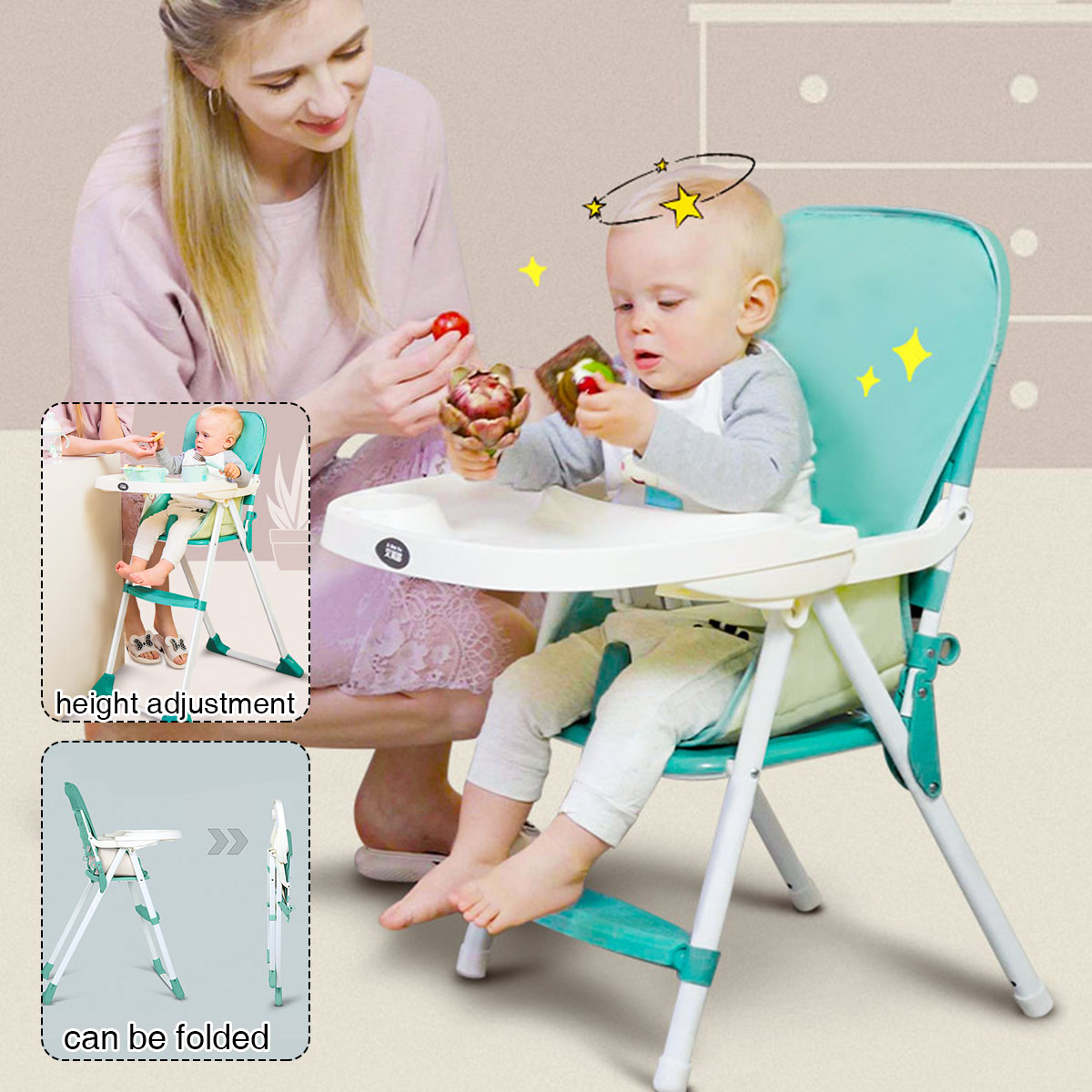 Portable Kids Highchair Feeding Dining Chair Double Tables Macaron Multi-function Height-adjust Folding Chairs Soft Cushion Seat