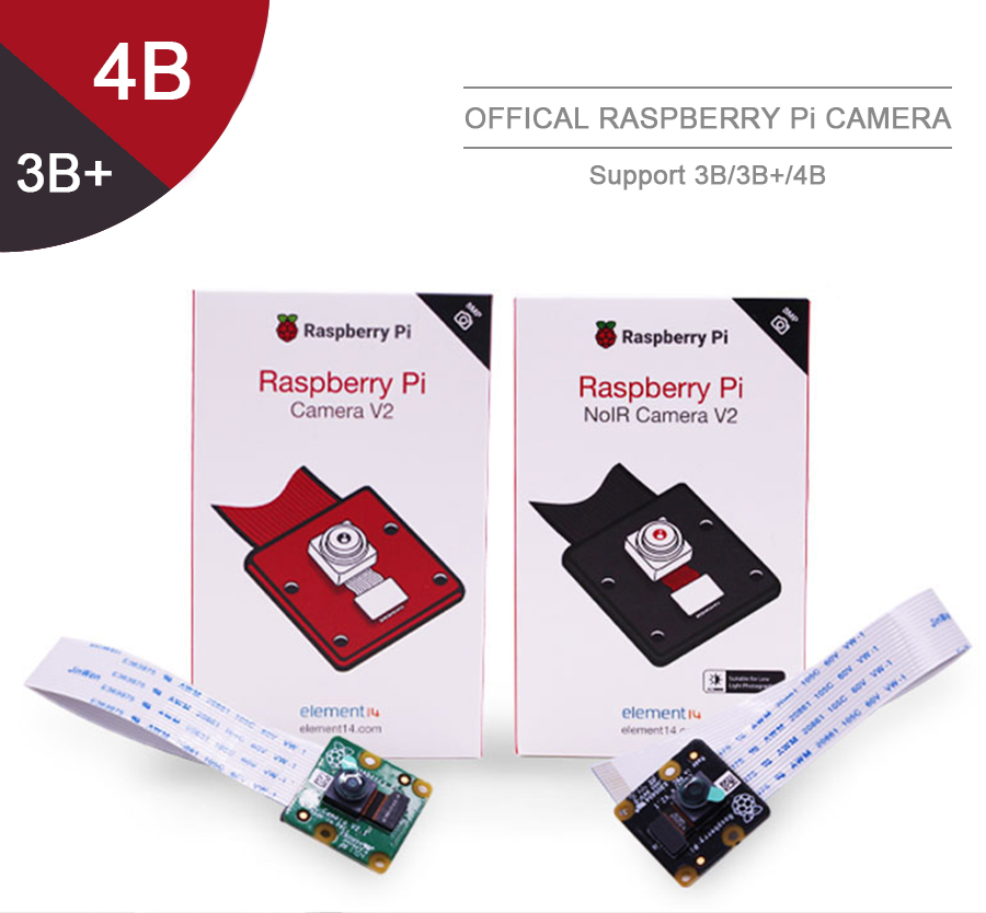 Official RaspberryPi Camera V2 Module with Sony IMX219 Light-sensitive Chips 8MP Pixels 1080P Video Support Raspberry Pi 3b  PI4