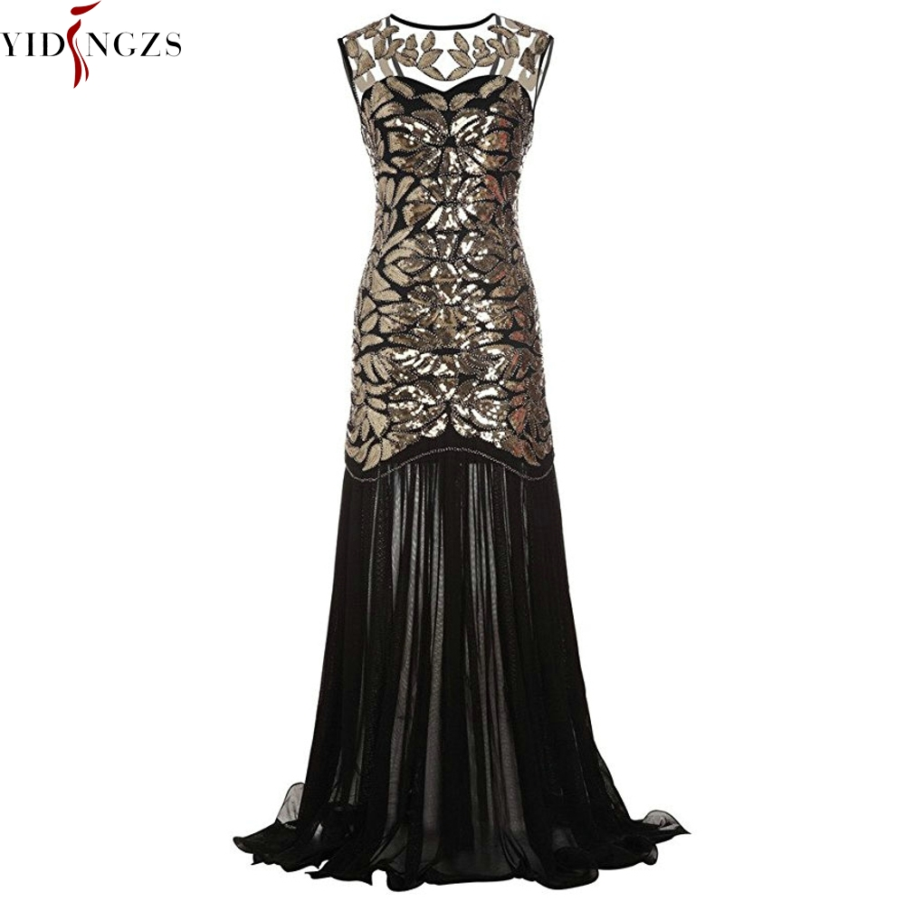 YIDINGZS Women's Vintage   Evening     Dress   Gold Sequins Beading Long   Evening   Party   Dress   GA11