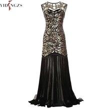 YIDINGZS kadın Vintage akşam elbise altın Sequins boncuk uzun akşam parti elbise GA11