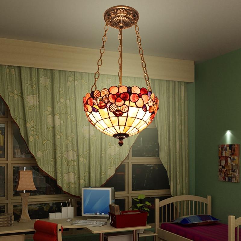 Europe Nature Shell Pendant Light Flower Bedroom Stairway Lobby Living Bed Room Hanging Light E27 Luminaire