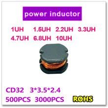 Jasnprosma 500Pcs 3000Pcs Smd Macht Inductor CD32 1UH 1.5UH 2.2UH 3.3UH 4.7UH 6.8UH 10UH 3*3.5*2.4Mm