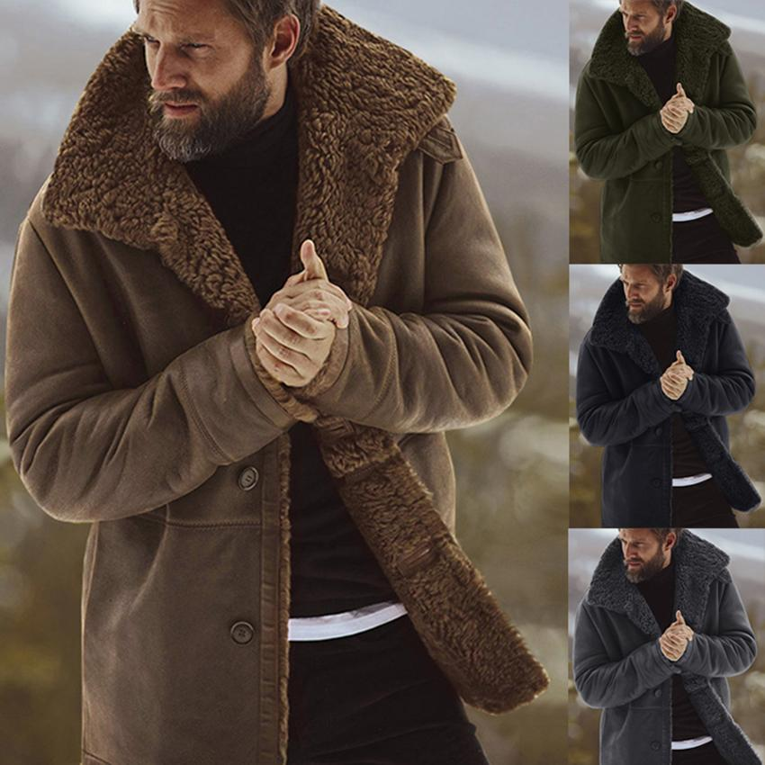 Men Winter Thicken Warm Fleece Lined Jacket Vintage Coat Outwear Windproof Overcoat Male Wool Blend Men's Coat With Fur Collar