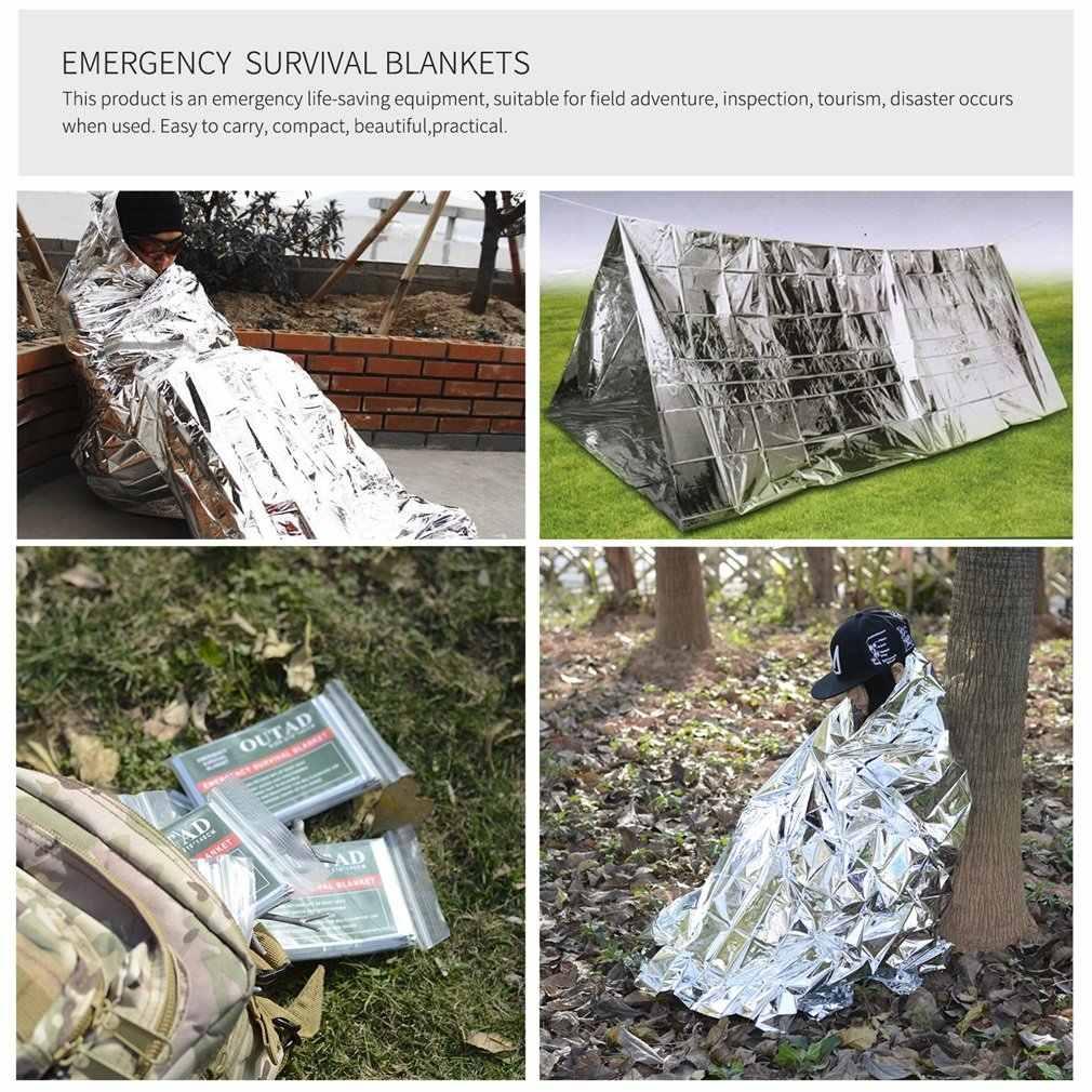 Outad 10パック緊急サバイバルサーマルブランケット屋外防水防風再利用可能な応急処置太陽シェードグランドカバー