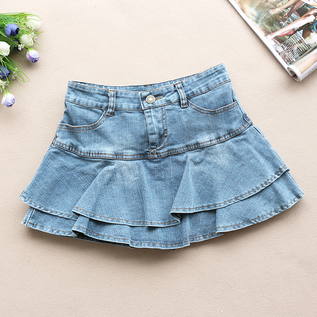 Ruffle Pleated Skirts Womens 2021 Summer Low Waist A Line Y2K Denim Skirt Sexy Mini Short Skirts Women Sex Jeans Woman Skirts 2