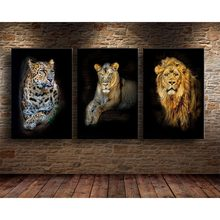 Vintage nadruk zwierzęta płótno malarstwo lew tygrys Leopard zdjęcia plakat salon dekoracja ścienna do sypialni Mural Home Decoration