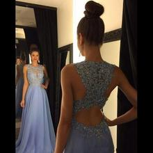 Open Back Bridesmaid Dresses Jewel Appliques Beads A Line Lo