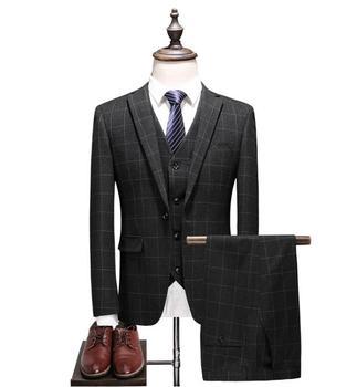 2020 New Style Wedding Bestman Suits Casual Plaid Male High Quality Suit Men's Business Party Suits Men(Jacket+Vest+Pants) jacket vest pants 2017 autumn high quality jacquard men suits fashion embroidered suits men s business wedding suit men s 5xl