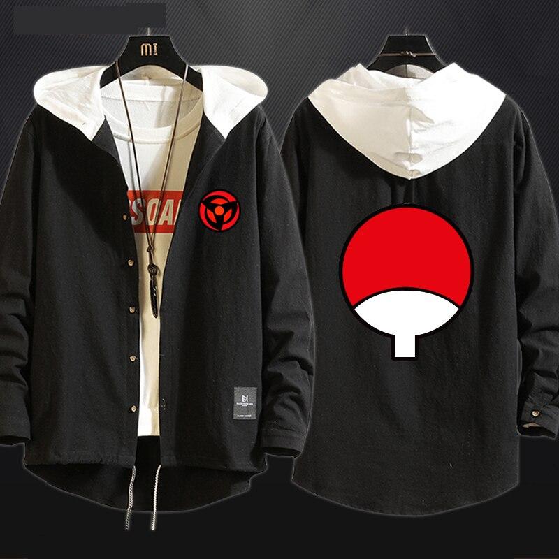 New Anime NARUTO Uchiha Sasuke Cosplay Costume Sharingan Trench Cotton Hoodies Sweatshirt Sportswear Hooded Sweater Coat Top