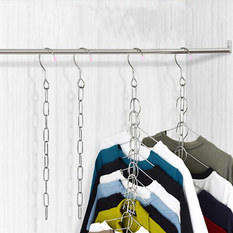 Stainless Steel Clothes Market Shop Display Hanging Chain Hooks With Ring Hanger Household Tools