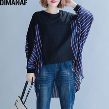 DIMANAF Plus Size Women Hoodies Sweatshirts Autumn Big Cotton Striped Spliced Loose Batwing Sleeve Female Tops Shirts 2019