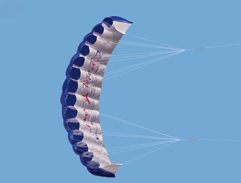 Esportes ao ar livre Linha Dupla Conluio Parafoil Kite 1.4m Poder 30m Linha Praia Kite Suave Kite com Alça Para iniciante