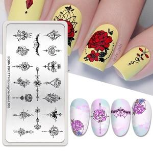 Image 5 - GEBOREN ZIEMLICH Mandala Serie Nagel Stanzen Platten Blumen Rechteck Nail art Bild Schablone Thema Vorlage