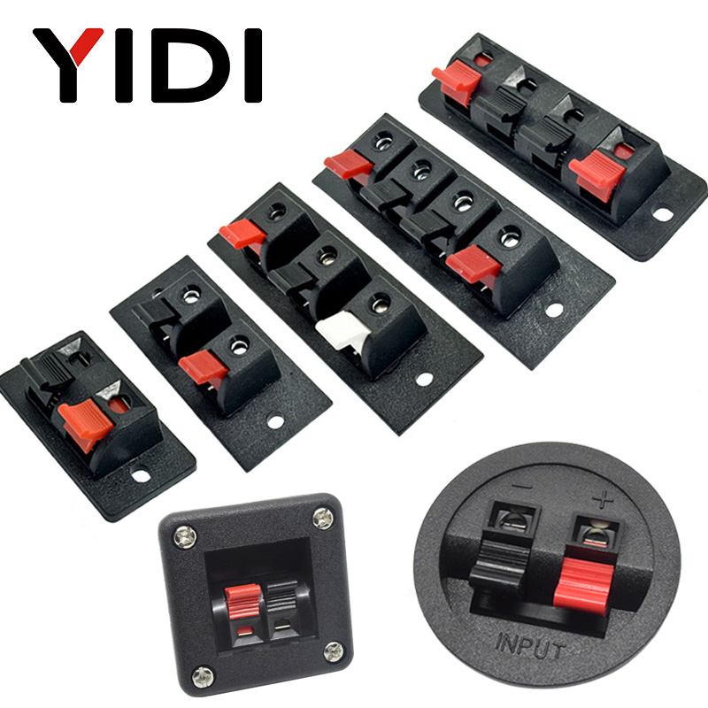 1pc 3/5 pcs 2 positions 4 poles 3 position Connector Terminal Push in Jack Spring Load Audio Speaker Terminal Breadboard clip(China)