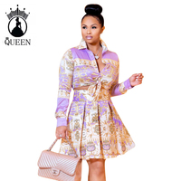 Floral Two Piece Women african crop top and skirt set 2019 New Fashion Elegant Long Sleeve Short Shirt A line Skirts Suit Sets
