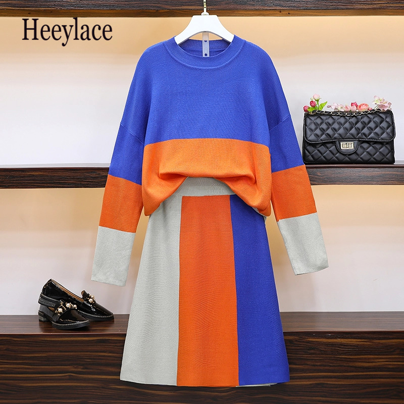 Plus Size Knitted Suit Women Warm Women's 2 Piece Knit Set With Skirt Shirt Top Female Outfits 2019 Winter Autumn Clothing 5XL