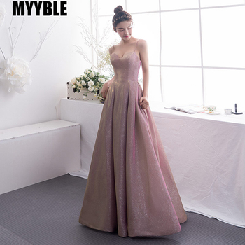 MYYBLE 2020 Women's Gradient Evening Dresses Sequin V Neck Contrast Color Party Gown formal prom dresses gown