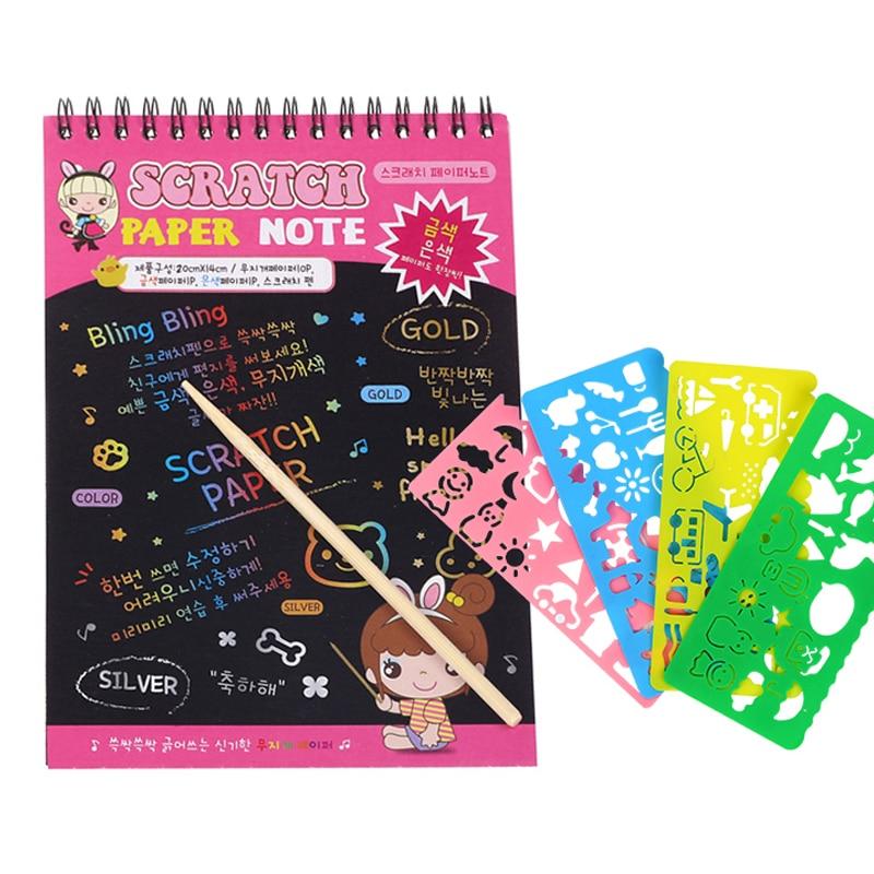 DIY Creativity Coils Book Colorful Dazzle Scratch Note Sketchbook Paper Graffiti  Drawing Book Children drawing book
