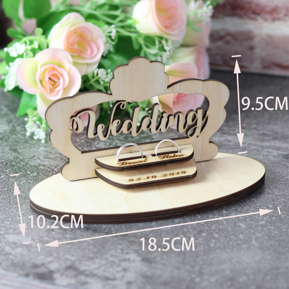 Customized Wedding Gifts Ring Bearer Box  Personalized Ring Holder Nature Ring Box For Engagement  Name Ring Pillow Decorations (2)
