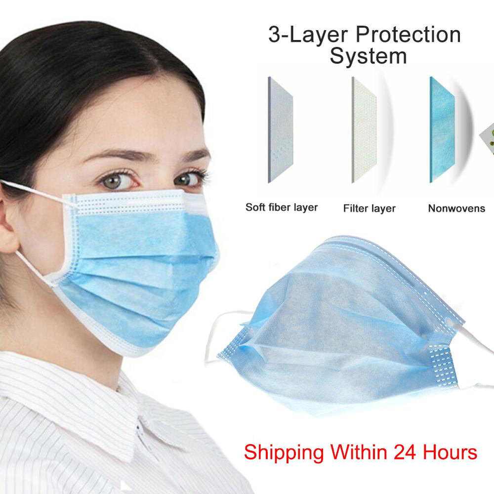 Disposable Face Masks Safety Protective Mask 3 Ply Health 