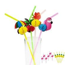 Pajita de plástico desechable para 20 piezas, Pajita de plástico con diseño de flamenco y piña, Pajita para beber en Hawai, suministros para fiesta hawaiana