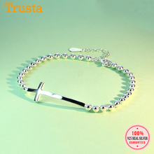 Trustdavis Authentic 925 Sterling Silver Simple Beads Chain Cross Bracelet For Women Wedding Party Birthday Anniversary ED95