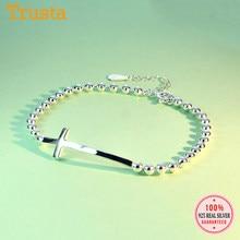 Trustdavis – Bracelet en argent Sterling 925 authentique pour femmes, chaîne de perles simples, croix, pour fête de mariage, anniversaire, ED95
