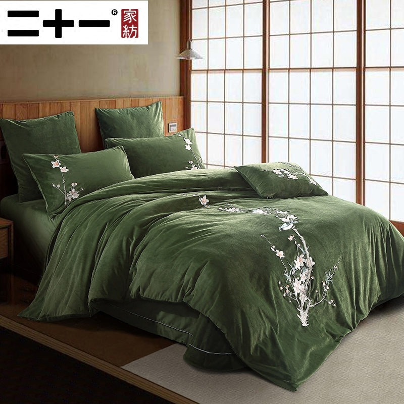 Thickening Cashmere. Bed Four Paper Set Embroidery Chinese Style Bedding Coral Down Keep Warm Quilt Cover 1.8 M In Bed