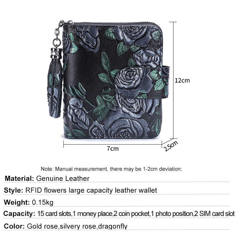 Short Wallet Bifold Printing Genuine Leather Women Mini Clutch Wallet Flower Female Coin Purse Women Leather Card Holder Wallet