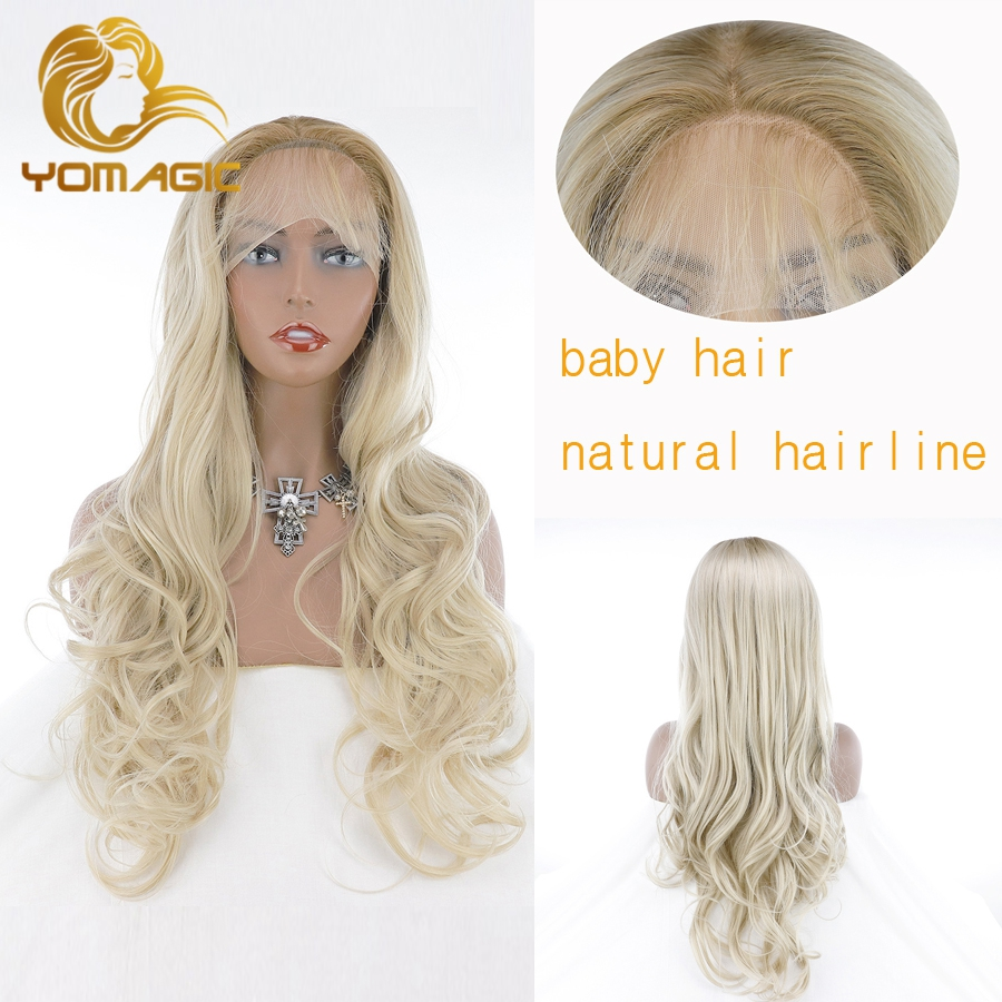 Yomagic Synthetic Hair Lace Front Wigs for Women Ombre Color Long Wavy Glueless Lace Wig with Natural Hairline