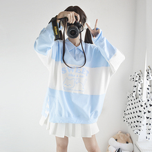 Japanese Teens Girl Cute Cat Blue Sweatshirt Lovely Graphic Printed Colorblock Pullover Korean Women Oversized Kawaii Hoodies