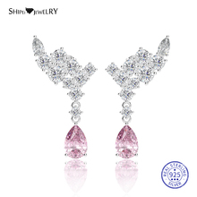 Shipei Gemstone Drop Water Earrings for Women 925 Sterling Silver Personalized Pink Sapphire Drop Earrings Jewelry Earrings graceful faux gemstone water drop bracelet for women