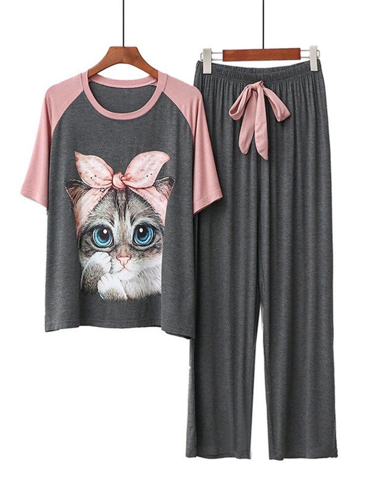 Set Sleepwear Female Pajamas Modal Loose Cartoon Casual Women's Kawaii Home-Cloth-Suit