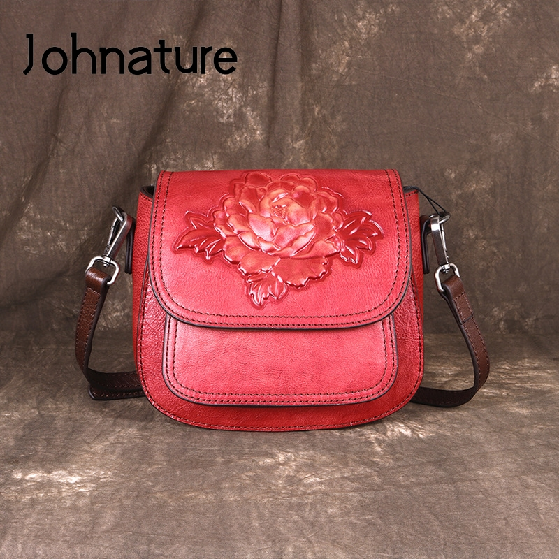 Johnature Handmade Embossing First Layer Cow Leather Women Bag 2020 New Vintage Floral Ladies Mini Bags Shoulder Messenger Bag