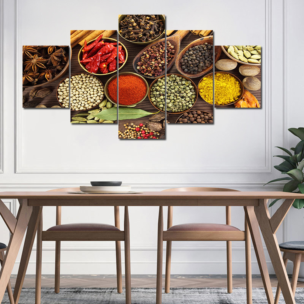 Kitchen theme wall poster and print various seasoning canvas art painting 5 panel on the wall canvas art picture Cuadros decor in Painting Calligraphy from Home Garden