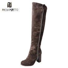 Joelho alto botas femininas couro grosso de salto alto zíper rebite stovepipe em linha reta sobre o joelho botas