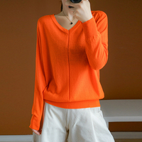 zocept new fashion spring autumn women's sweater 100% wool worsted knit V neck orange pullover Female casual street solid jumper